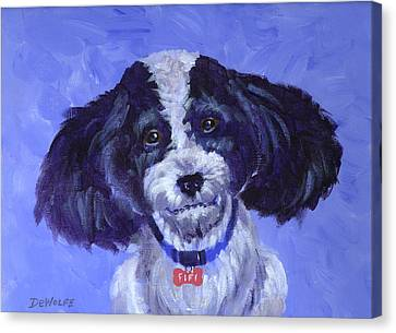 Little Dog Blue Canvas Print