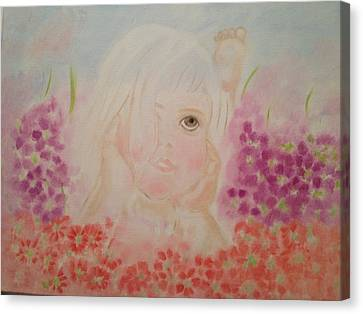 Canvas Print featuring the painting Little Dreamer by Brindha Naveen