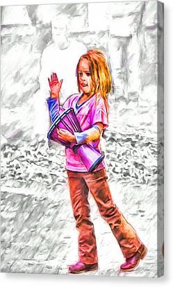 Nc Canvas Print - Little Drummer Girl by John Haldane