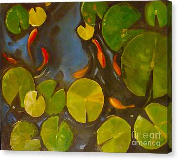 Little Fish Koi Goldfish Pond Canvas Print by Mary Hubley