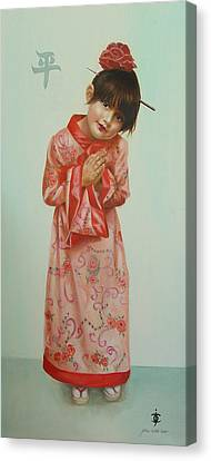 Little Geisha Canvas Print by JoAnne Castelli-Castor