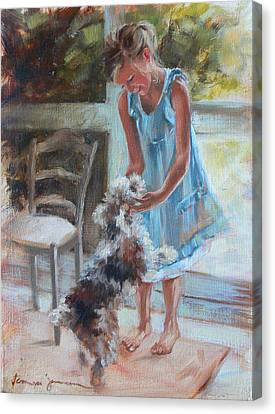 Little Girl And Dog Canvas Print