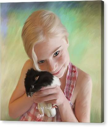 Little Girl And Pet Rat Canvas Print by Angela A Stanton