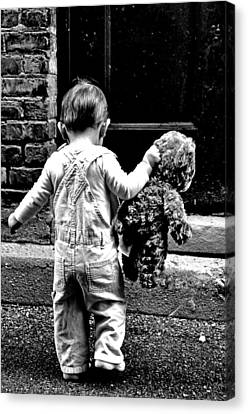 Little Girl And Teddy Bear Canvas Print by Jon Van Gilder