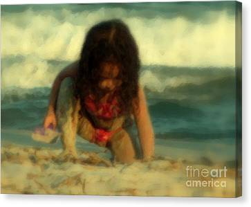 Canvas Print featuring the photograph Little Girl At The Beach by Lydia Holly