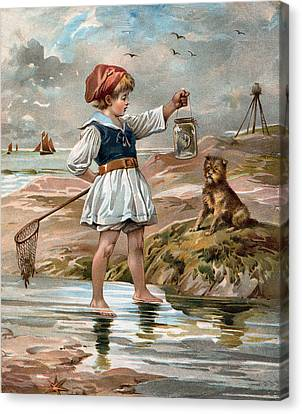 Little Girl At The Beach Canvas Print by Unknown