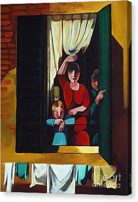 Little Girl At Window Canvas Print