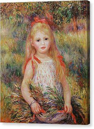 Youthful Canvas Print - Little Girl Carrying Flowers by Pierre Auguste Renoir