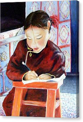 Little Girl From Mongolia Doing Her Homework Canvas Print