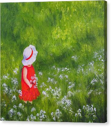Canvas Print featuring the painting Girl In Meadow by Roseann Gilmore
