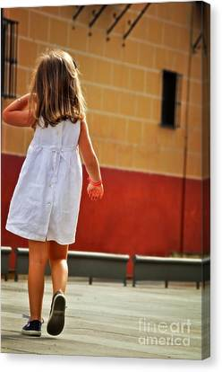 Little Girl In White Dress Canvas Print