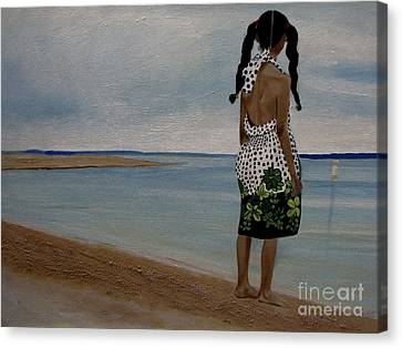 Little Girl On The Beach Canvas Print