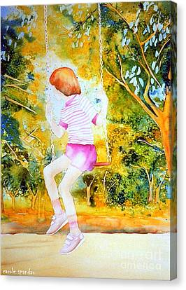 Little Girl On The Park Swing Westmount Quebec City Scene Montreal Art Canvas Print by Carole Spandau