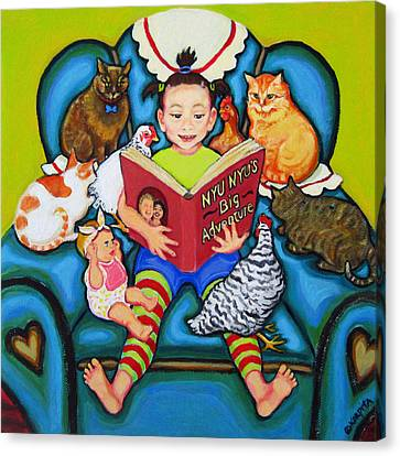 Little Girl Reading To Doll Cats Chickens Canvas Print by Rebecca Korpita