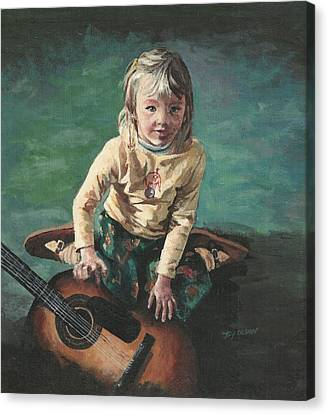 Little Girl With Guitar Canvas Print by Joy Nichols