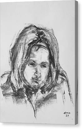 Little Girl With Hairband Canvas Print by Barbara Pommerenke