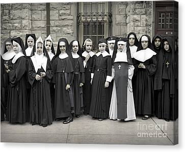 Young Girls Modeling Nun Habits Canvas Print