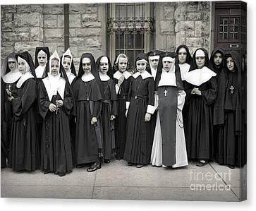 Young Girls Modeling Nun Habits Canvas Print by Martin Konopacki Restoration
