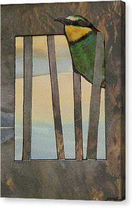 Little Green Bird Canvas Print