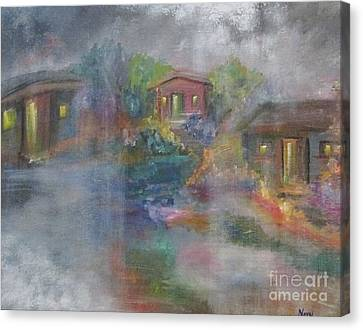 Canvas Print featuring the painting Little Houses On A Rainy Night  by Nereida Rodriguez