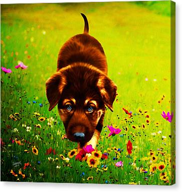 Little Hunter Canvas Print by Rebelwolf