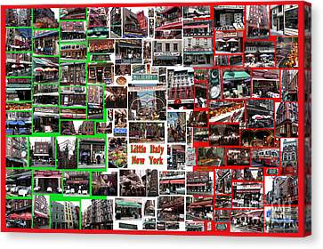 Canvas Print featuring the digital art Little Italy Photo Collage by Steven Spak