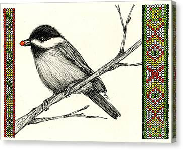 Seed Beads Canvas Print - Little Kejegigi Bird by Christine Matha