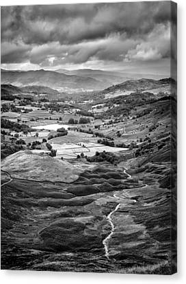 Black And White Canvas Print - Little Langdale Tarn by Alexis Birkill