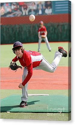 Little League Pitcher Canvas Print by Lisa Billingsley