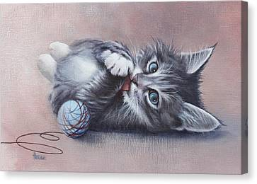 Canvas Print featuring the painting Little Mischief by Cynthia House