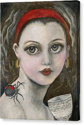 Little Miss Muffet Canvas Print - Little Miss Muffet  by Annora Anne