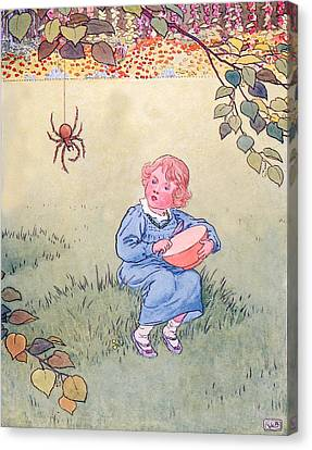 Little Miss Muffet Canvas Print by Leonard Leslie Brooke
