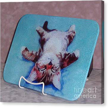 Little Napper Cutting And Serving Board Canvas Print by Pat Saunders-White