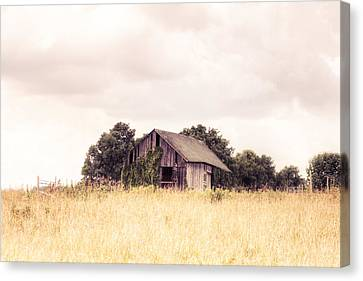 Canvas Print featuring the photograph Little Old Barn In A Field - Landscape  by Gary Heller