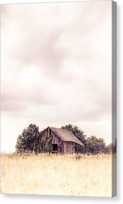 Canvas Print featuring the photograph Little Old Barn In The Field - Ontario County New York State by Gary Heller