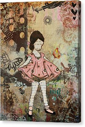 Little One Mixed Media Folk Art Of Whimsical Little Girl Canvas Print by Janelle Nichol