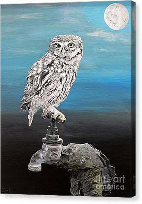 Canvas Print featuring the painting Little Owl On Tap by Eric Kempson