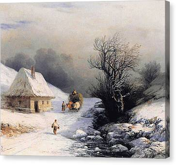 Little Oxcart Canvas Print by Ivan Constantinovich Aivazovsky