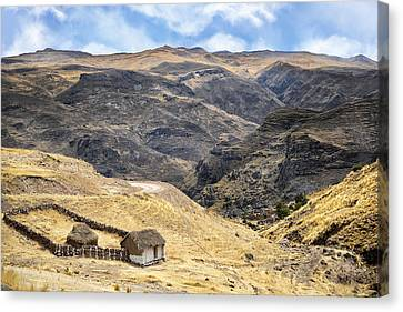 Little Peasant Hut In Mountains Canvas Print