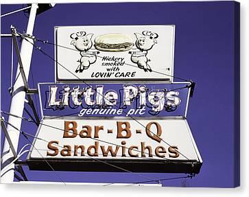 Little Pigs Bbq Sign, Asheville, North Carolina, 1988 Canvas Print