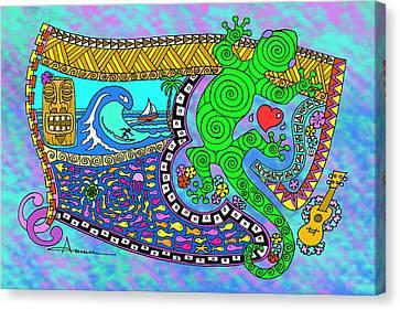 Tiki Canvas Print - Little Pleasures Big Island by Aaron Bodtcher