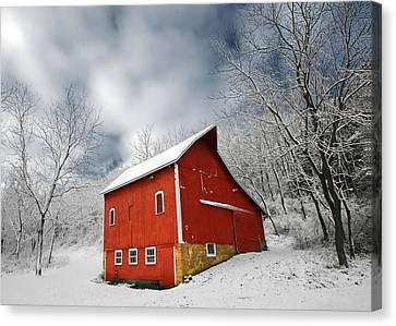 Little Red Barn Canvas Print by Todd Klassy