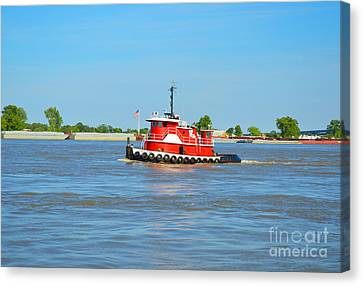 Little Red Boat On The Mighty Mississippi Canvas Print by Alys Caviness-Gober