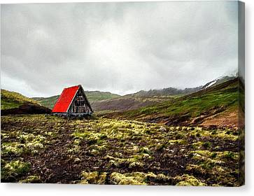 Mountain Cabin Canvas Print - Little Red Cabin by Florian Rodarte