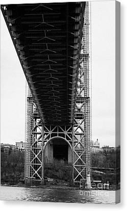Little Red Lighthouse Beneath The George Washington Bridge Hudson River New York Canvas Print by Joe Fox