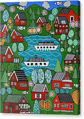 Little Red Norwegian Houses Canvas Print