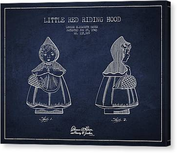 Little Red Riding Hood Patent Drawing From 1943 Canvas Print by Aged Pixel