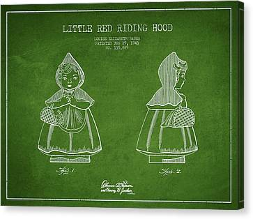 Little Red Riding Hood Patent Drawing From 1943 - Green Canvas Print