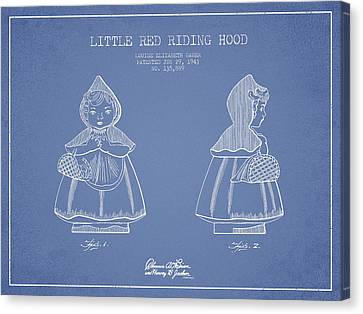 Little Red Riding Hood Patent Drawing From 1943 - Light Blue Canvas Print