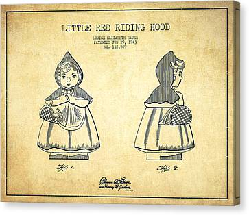Little Red Riding Hood Patent Drawing From 1943 - Vintage Canvas Print